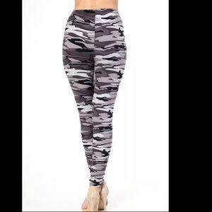 Black Gray Army Camouflage Leggings High Waist